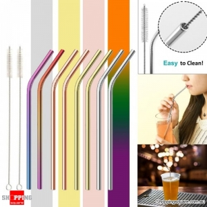 10Pcs Reusable Stainless Steel Straws Multi-Colored Mon-Toxic Metal Straw with Cleaning Brushes