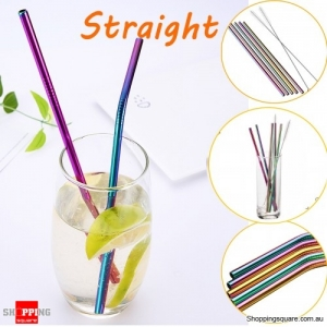 7PCS Reusable Premium Stainless Steel Metal Drinking Straw Set With Cleaner Brushes - Straight