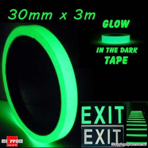 30mm x 3m Luminous Tape Self-adhesive Emergency Signs Glowing In The Dark Safety Stage Home Decor