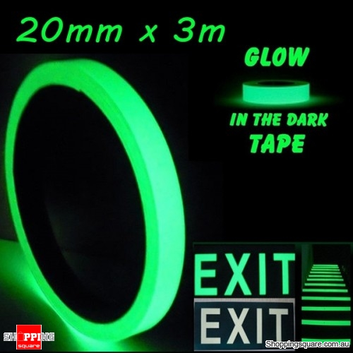 20mm x 3m Luminous Tape Self-adhesive Emergency Signs Glowing In The Dark Safety Stage Home Decor