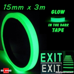 15mm x 3m Luminous Tape Self-adhesive Emergency Signs Glowing In The Dark Safety Stage Home Decor