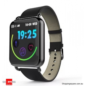 1.3' Dynamic Blood Pressure Custom Interface Long Standby Smart Watch Leather Band - Black