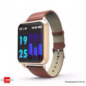 1.3' Dynamic Blood Pressure Custom Interface Long Standby Smart Watch Leather Band - Rose Gold