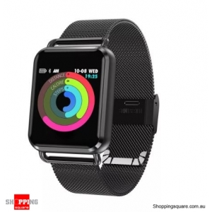 1.3' Dynamic Blood Pressure Custom Interface Long Standby Smart Watch Stainless Steel Band - Black