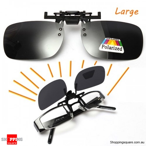Polarized Clip On Lens UV400 Sunglasses Glasses Lens Gray Driving - Large
