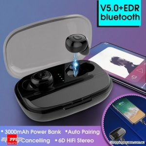 TWS True Wireless Bluetooth 5.0 Earphone 6D HiFi Stereo 3000mAh With Charging Box