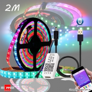 DC5V WS2812B 5050 Bluetooth USB APP Control RGB LED Strip Light Kit - Waterproof 2M