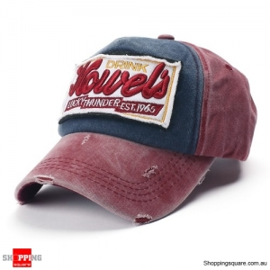 Vintage Washed Embroidered Baseball Cap Outdoor Casual Sports Adjustable Hat - Wine Red