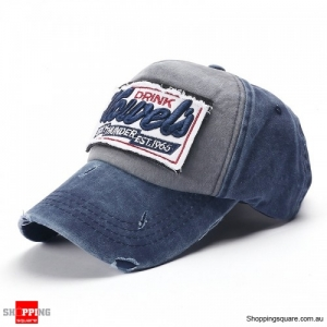 Vintage Washed Embroidered Baseball Cap Outdoor Casual Sports Adjustable Hat - Navy