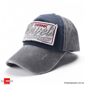 Vintage Washed Embroidered Baseball Cap Outdoor Casual Sports Adjustable Hat - Gray