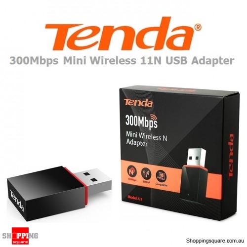 Tenda U3 300Mbps Mini Wireless 11N USB Adapter Dongle Black