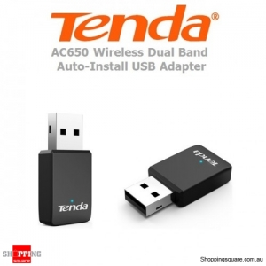 Tenda U9 AC650 Wireless Dual Band Auto Install USB Adapter MU-MIMO Dongle Black