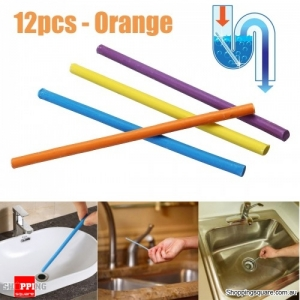 12Pcs/Pack Drain Pipes Sewer Deodorant Sticks Clean Bar Odor-Free Kitchen Sewage Tool-Orange