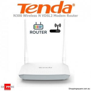 Tenda V300 300Mbps N300 Wireless N VDSL2 VDSL/ADSL Modem Router White