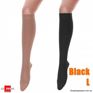 Wrap Toe Medical Elastic Stockings Varicose Vein Circulation Compression Socks for Sports Travel Support  -Black L
