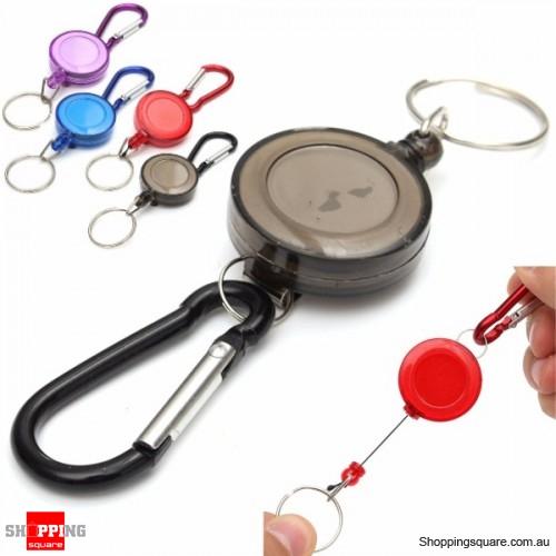 Retractable Badge Reel Telescopic Key Buckle Recoil Holder Key Chain - Black