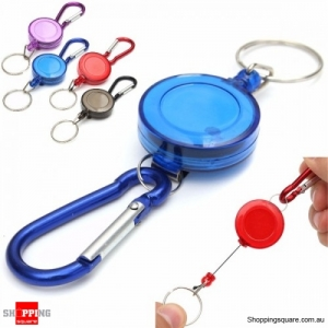 Retractable Badge Reel Telescopic Key Buckle Recoil Holder Key Chain - Blue