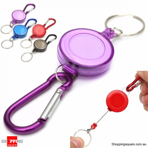 Retractable Badge Reel Telescopic Key Buckle Recoil Holder Key Chain - Purple