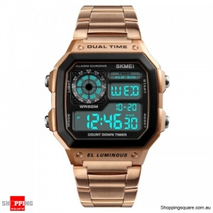 SKMEI 1335 Digital Watch Men Chronograph Alarm Watch Stainless Steel Watch - Rose Gold