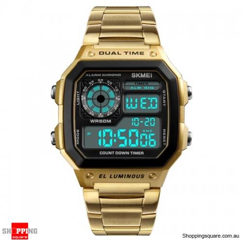 SKMEI 1335 Digital Watch Men Chronograph Alarm Watch Stainless Steel Watch - Gold