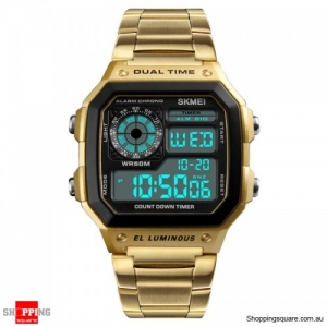SKMEI 1335 Digital Watch Men Chronograph Alarm Watch Stainless Steel Watch - Gold