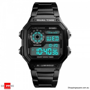 SKMEI 1335 Digital Watch Men Chronograph Alarm Watch Stainless Steel Watch - Black