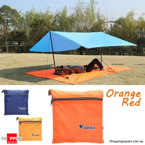 Portable 250x150CM Camping Tent Sunshade Outdoor Waterproof Shelter Tentage - Orange Red