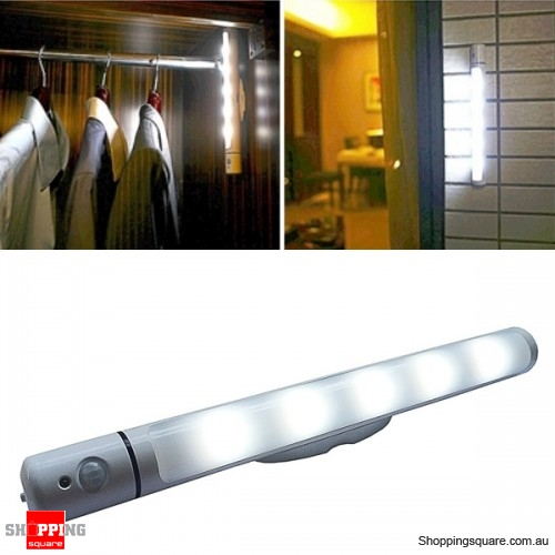 PIR Motion Light Sensor LED Swivel Light Battery Power Lamp for Cabinet Closet