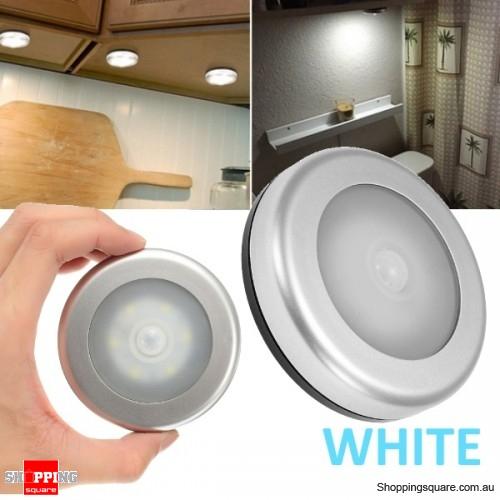 Wireless Ultra-Thin 6 LED PIR Motion Sensor LED Light for Wardrobe Cabinet - White