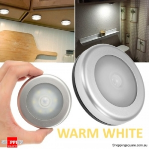 Wireless Ultra-Thin 6 LED PIR Motion Sensor LED Light for Wardrobe Cabinet - Warm White