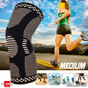 1pc Copper Infused Knee Pad Support Fitness Protective Gear Outdoor Sports Bike Basketball - Medium
