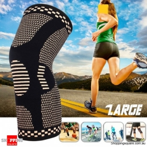 1pc Copper Infused Knee Pad Support Fitness Protective Gear Outdoor Sports Bike Basketball - Large