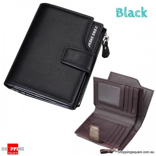 14 Card Slots Men PU Leather Minimalist Vertical Wallet Tri-fold Wallet Card Holder - Black