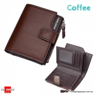 14 Card Slots Men PU Leather Minimalist Vertical Wallet Tri-fold Wallet Card Holder - Coffee