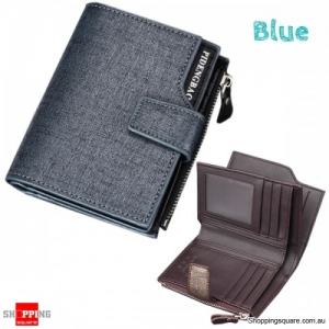 14 Card Slots Men PU Leather Minimalist Vertical Wallet Tri-fold Wallet Card Holder - Blue