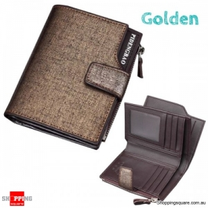 14 Card Slots Men PU Leather Minimalist Vertical Wallet Tri-fold Wallet Card Holder - Golden