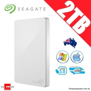 Seagate Backup Plus Slim 2TB 2.5in Portable Hard Disk Drive White