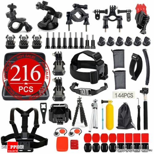 GoPro Accessories Pack Case Chest Head Floating Monopod 216Pcs Hero 7 6 5 4 3+ 2