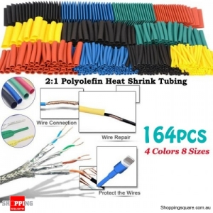 164Pcs Assorted Polyolefin Shrinking Heat Shrink Tube Wire Cable Insulated Sleeving Tubing Set