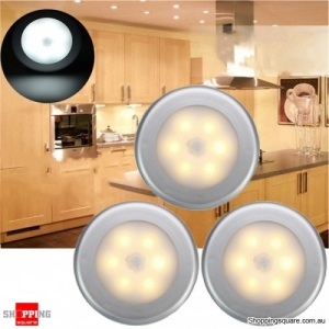 3pcs PIR Motion Sensor 6 LED Night Cabinet Light Lamp - Warm White