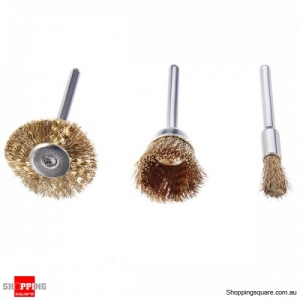 3pcs Wire Brass Brush 5mm 17mm 23mm Wheel Dremel Accessories for Rotary Tools