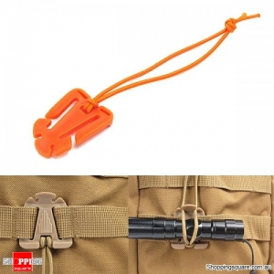 Elastic String Attaching Clamp Retaining Clip-On Buckle Outdoor Camping Travel - Orange
