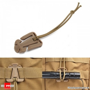 Elastic String Attaching Clamp Retaining Clip-On Buckle Outdoor Camping Travel - Mud