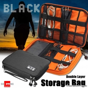 Portable Cable Organizer Oxford Storage Bag Double Layer USB Gadget Pouch Travel - Black