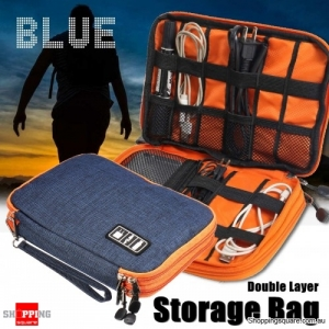 Portable Cable Organizer Oxford Storage Bag Double Layer USB Gadget Pouch Travel - Blue