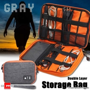 Portable Cable Organizer Oxford Storage Bag Double Layer USB Gadget Pouch Travel - Gray