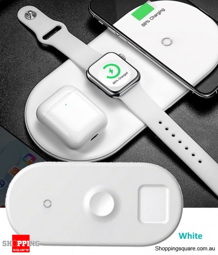 Baseus 3 in 1 Qi Wireless Charger for iPhone X XS Max Airpods 2 Apple Watch 4 3 - White