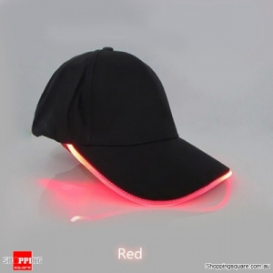 Punk Style LED Light Baseball Cap Luminous Cap Snapback Hat Fiber Optic Hat - Red