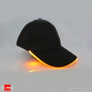 Punk Style LED Light Baseball Cap Luminous Cap Snapback Hat Fiber Optic Hat - Yellow