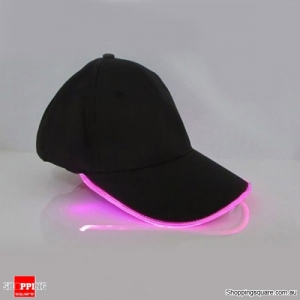 Punk Style LED Light Baseball Cap Luminous Cap Snapback Hat Fiber Optic Hat - Pink
